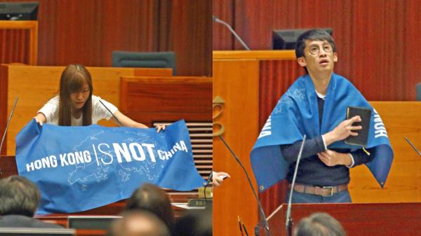 有建制派議員計劃動議押後青年新政梁頌恆(右)及游蕙禎(左)宣誓,直至政府司法覆核完畢。民主派議員均表示強烈反對。(大紀元資料圖片)