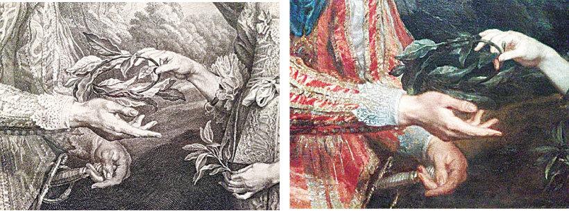 《拿桂冠的查理一世和瑪麗亞‧亨麗埃塔》局部,1632年作。