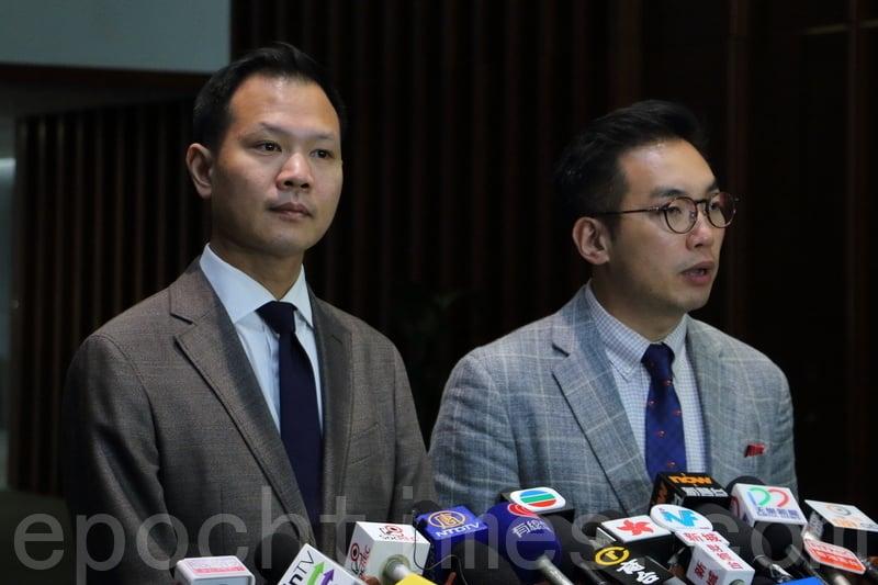 楊岳橋(右)批評范徐麗泰稱香港無「三權分立」的言論存有嚴重誤導成份。郭榮鏗則強調,「三權分立」是香港行之有效制度,受《基本法》保障。(蔡雯文/大紀元)