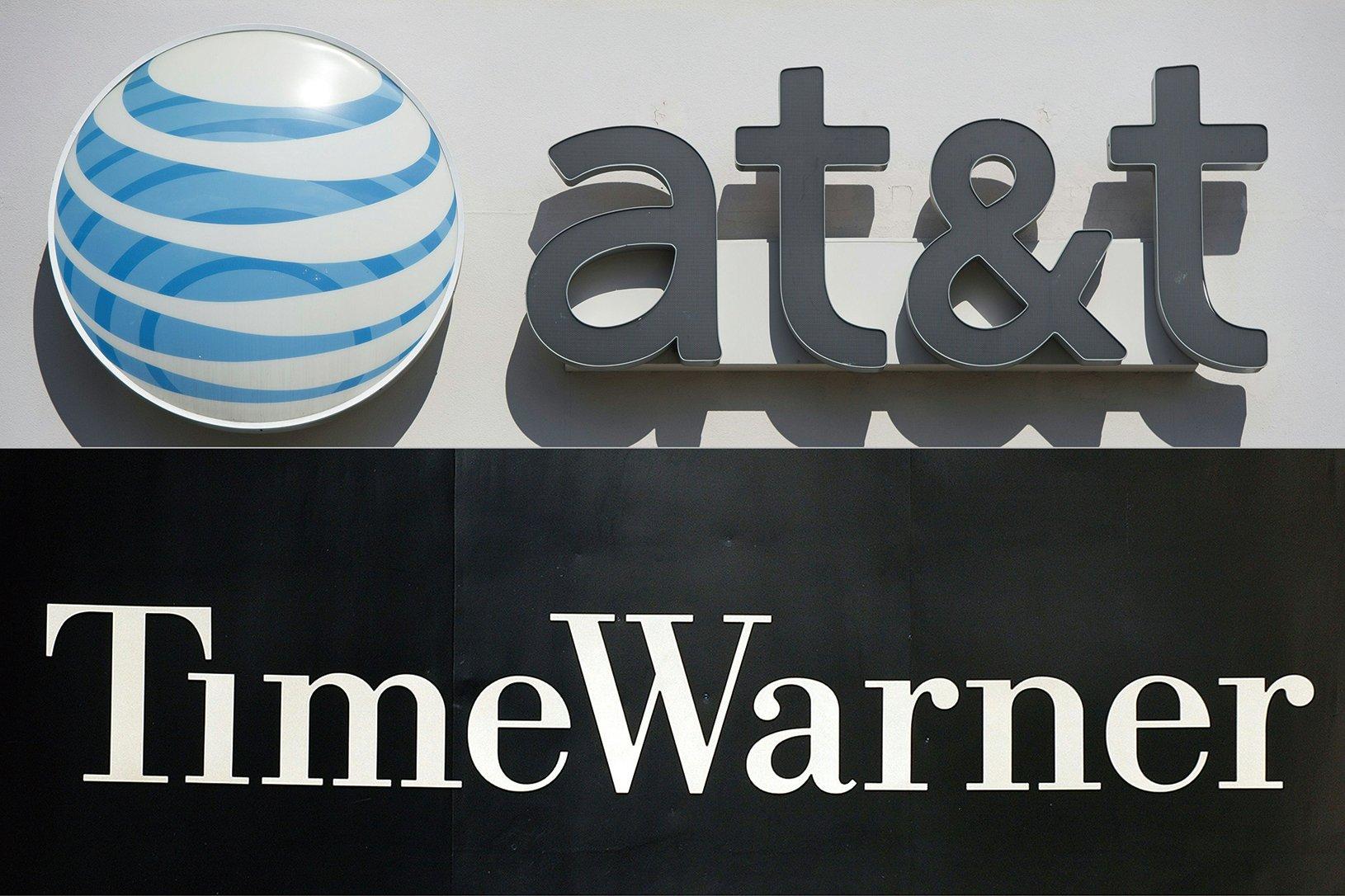 10月22日晚,AT&T和傳媒巨頭時代華納就一項850億美元的收購交易達成協議,這是有史以來最大的媒體聯合併購案之一。(AFP/Getty Images)