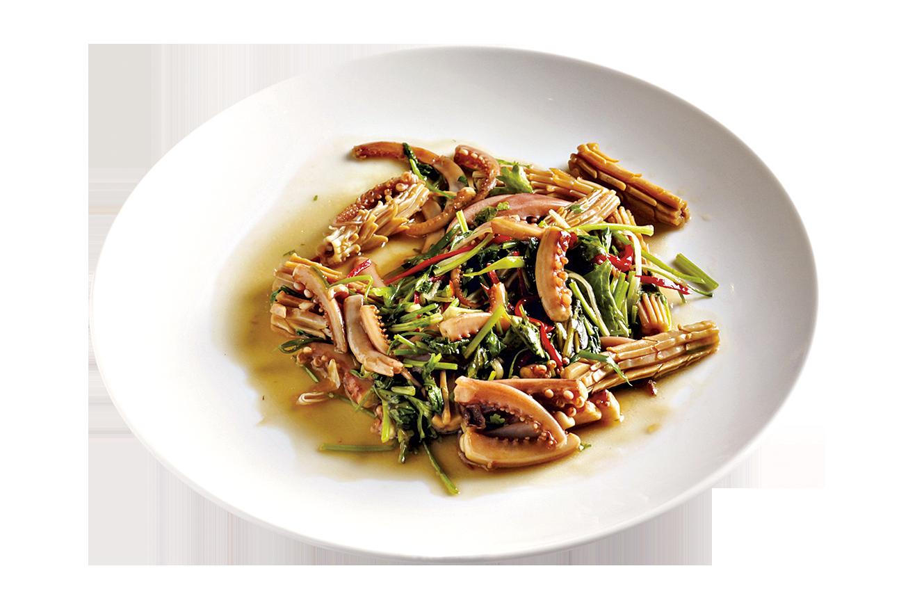 「爆炒魷魚」要將魷魚花刨得恰到好處,口感脆而多汁。