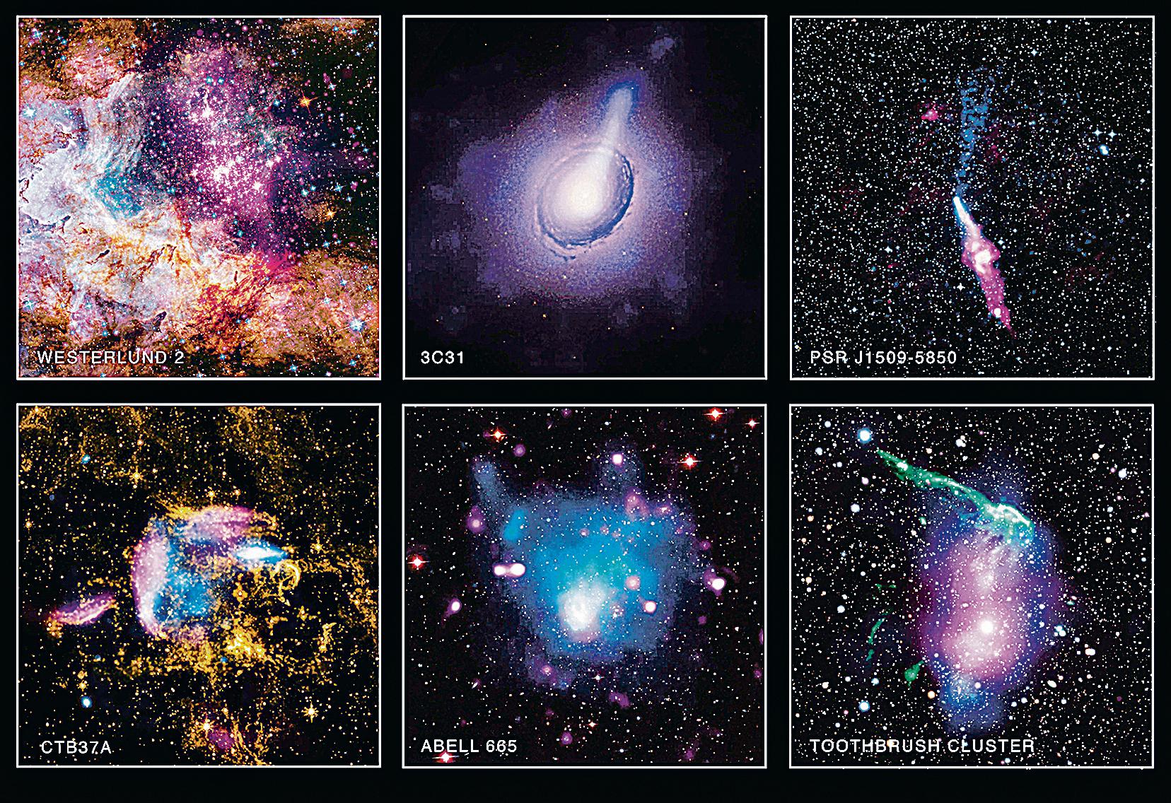 NASA發佈近期錢德拉X射線望遠鏡觀測天文景象圖,展示肉眼不可能看見的壯觀天體結構。(NASA)
