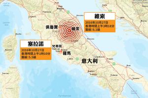 意大利再傳兩次強震 最大6.1級