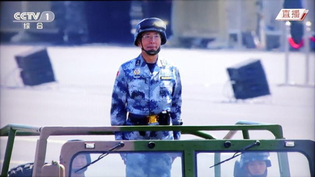 空軍副司令陳東是去年9.3閱兵的領隊之一。(視頻截圖)