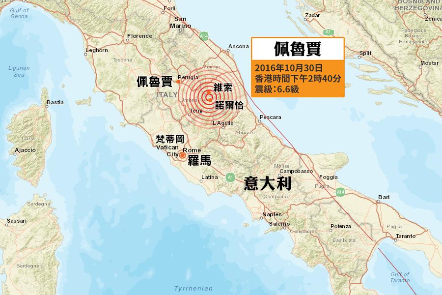 美國地質調查局(USGS)在香港時間今日(30日)下午2時40分(當地時間30日上午7時40分)錄得一次黎克特制6.6級強烈地震,震央位於意大利中部佩魯賈省諾爾恰(Norcia)鎮北面6公里處,震源深度10公里,屬極淺層地震。(地圖:美國地質調查局)
