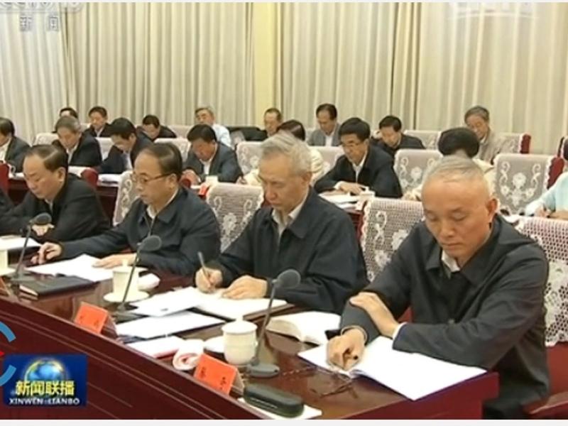 北京市長蔡奇(右一)日前擔任北京地區部隊全面停止有償服務協調工作領導小組組長。(網絡圖片)
