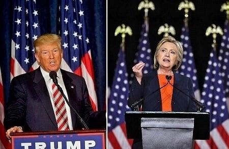 希拉莉與特朗普。(Getty Images)