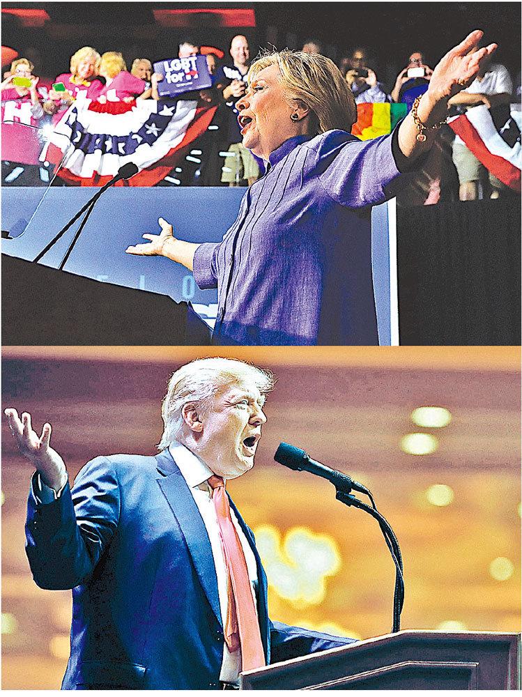 共和黨候選人特朗普與民主黨候選人希拉莉在2016年美國總統選舉的最後一場辯論會上。(Getty Images)