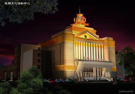 張澤設計作品——饒陽影院夜景。(本人提供)