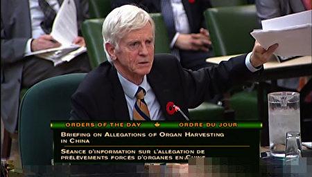 前亞太司司長大衛•喬高(David Kilgour)在2016年11月3日的加拿大國會聽證會上發言。(加拿大國會新聞中心提供)
