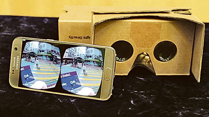 學生只需通過頭戴式顯示器,如谷歌紙盒眼鏡等設備及裝有相關程式的智能電話,即可體驗「戶外考察」。(中大提供圖片)