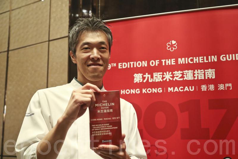 日本名店「柏屋」首年來港開分店就入圍米芝蓮二星,圖為料理長高橋淳。(余鋼/大紀元)