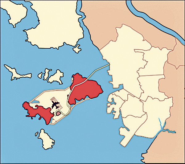 原永宗島(東)和龍遊島(西)現在已經通過填海連接成一個島嶼。(維基百科 )