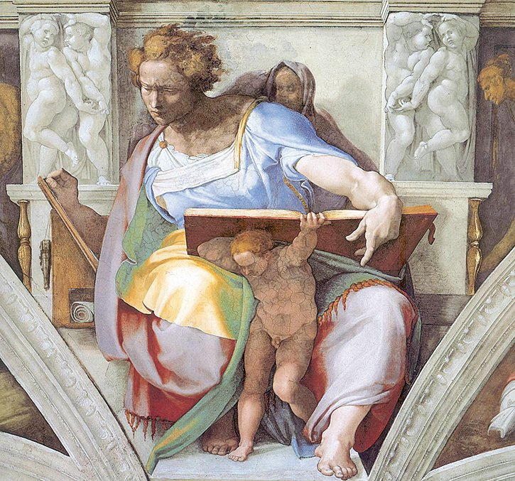 米開朗基羅在《創世紀》之《先知丹尼爾》的畫中運用換色法表達光暗:先知袍子在膝蓋的亮處呈黃色和旁邊暗處呈綠色,更暗處用褐色表達。(維基百科公共領域)