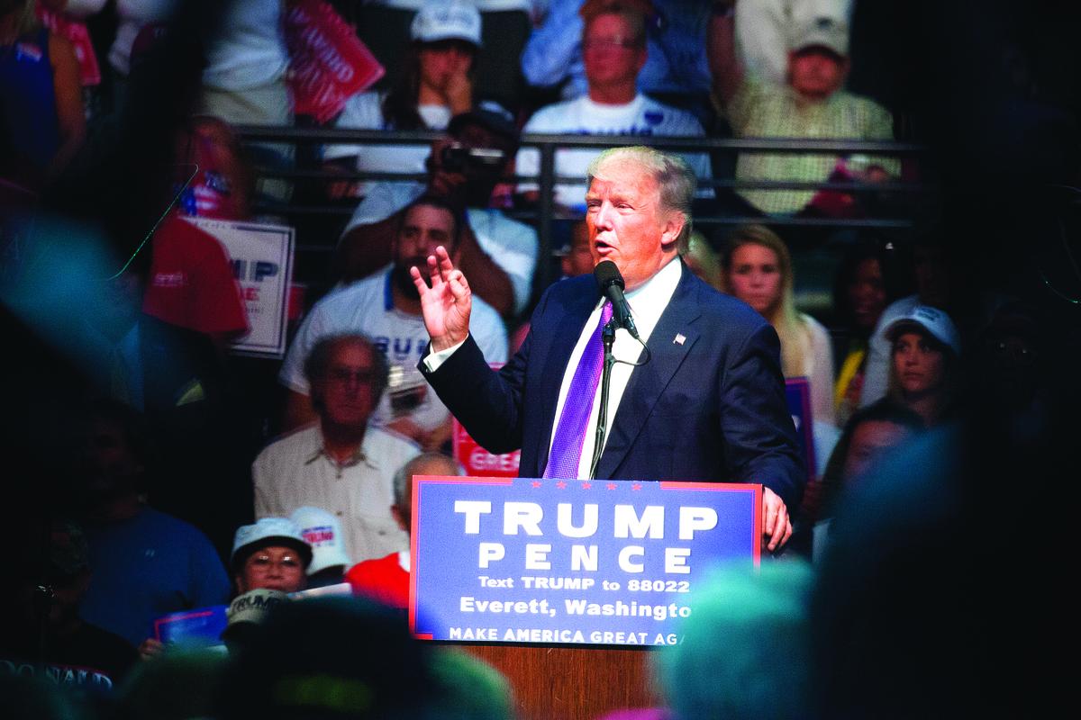 特朗普在一個競選集會上。(Getty Images)