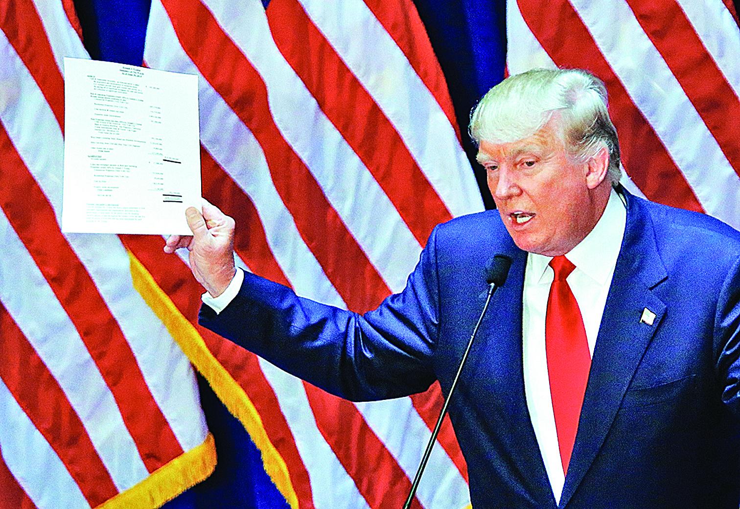 特朗普在去年6月16日宣佈參選的演講中即誓言要在經濟上對中共更強硬。(AFP)