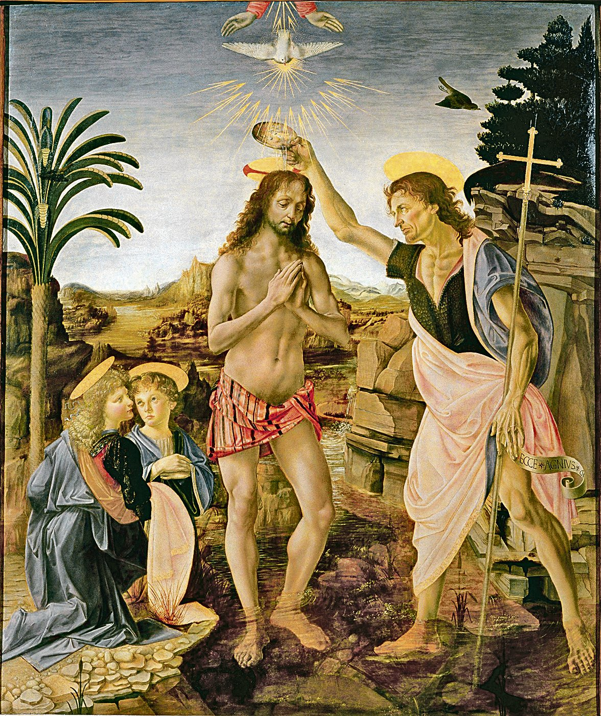 達文西的 《基督受洗》(The Baptism of Christ),楊木板上的油畫及蛋彩畫。現藏於佛羅倫薩烏菲茲美術館。 (維基百科公共領域)