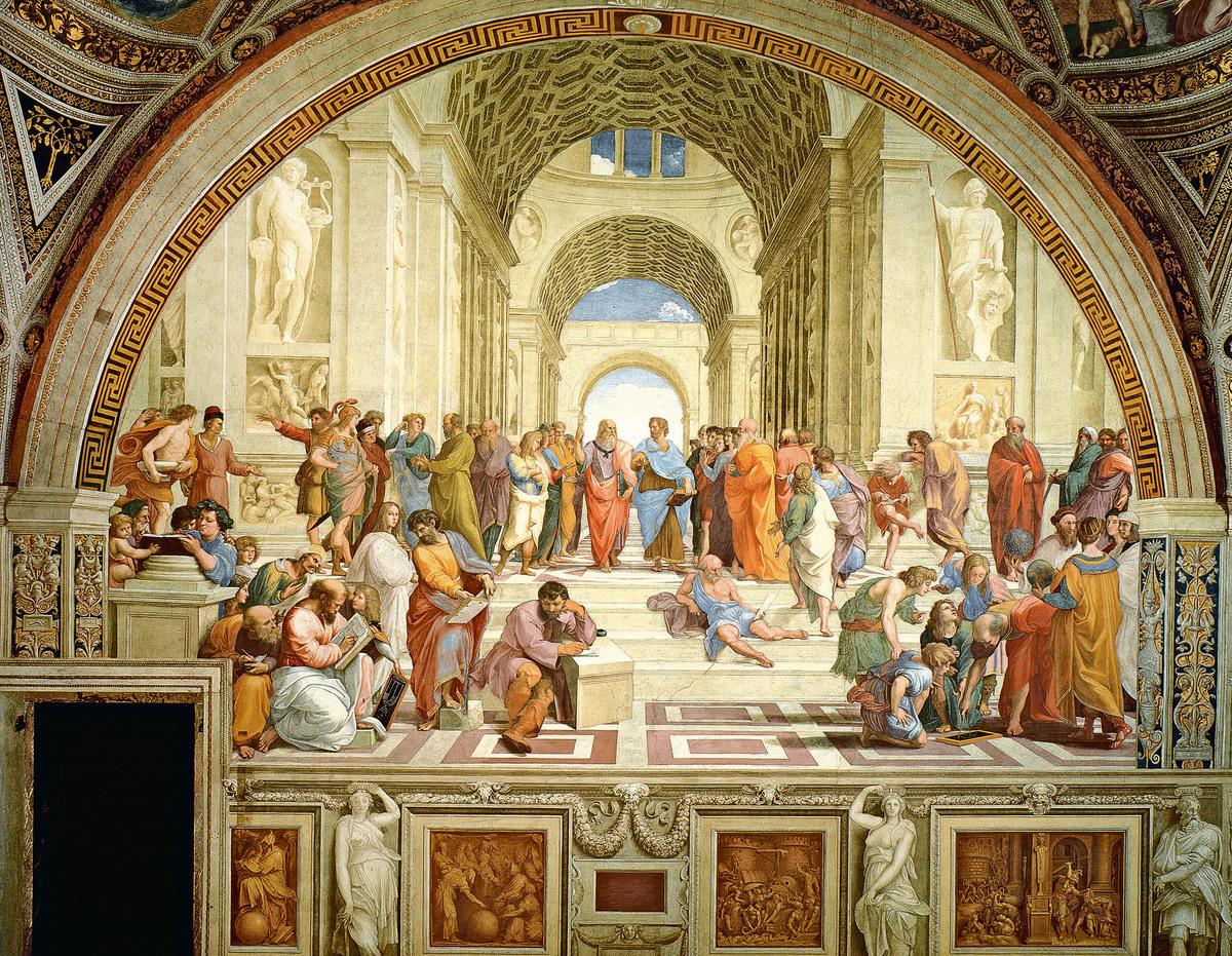拉斐爾為梵蒂岡署名室(Stanza della Segnatura)創作的大型壁畫《雅典學院》(La Scuola di Atene,The School of Athens,1509)將柏拉圖和亞里斯多德等古聖先賢,統合在一個和諧的畫面。(維基百科公共領域)