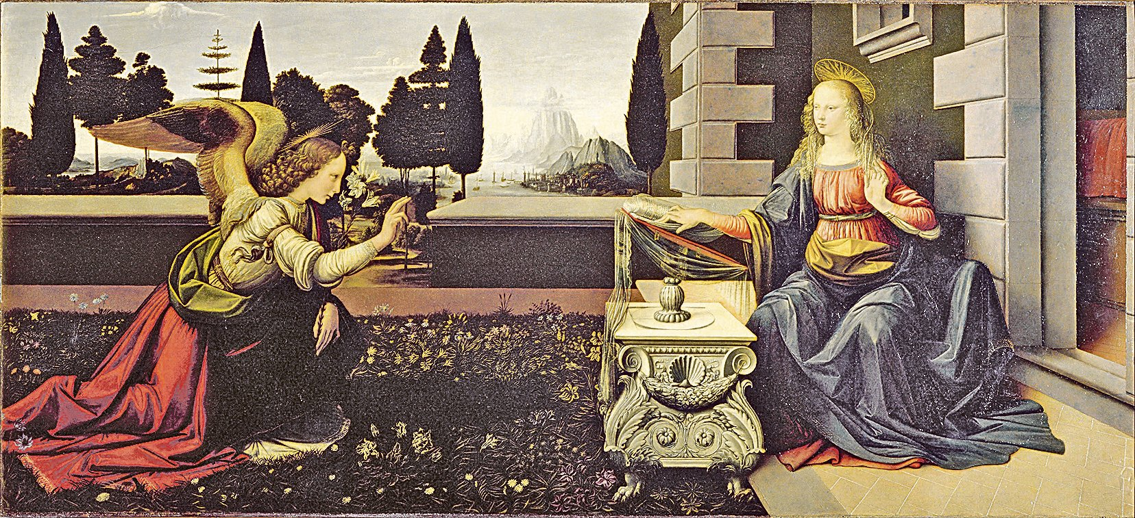《聖母領報》(Annunciation)是15至16世紀文藝復興時期意大利畫家列奧納多·達文西的早期油畫作品。約作於1472年。現藏於佛羅倫薩烏菲茲美術館。(維基百科公共領域)