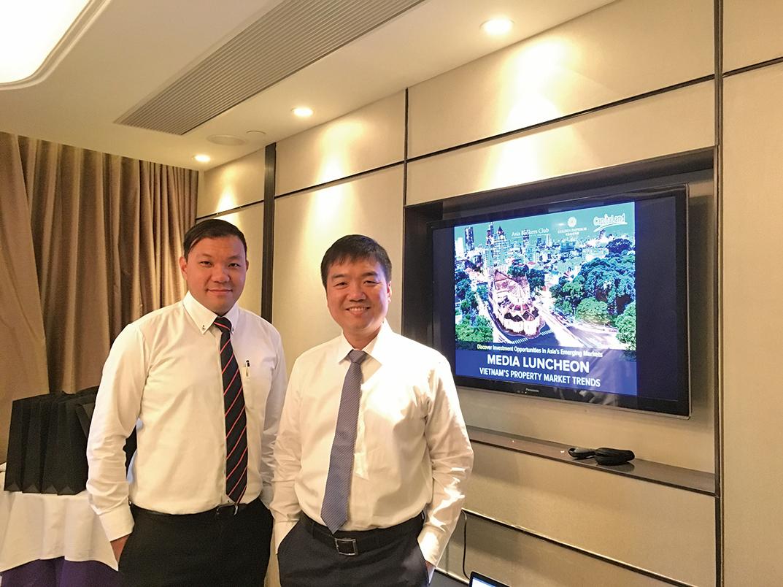 亞洲銀行家俱樂部首席執行官賴遠方(右)與帝皇地產執行董事陳卓明。(帝皇地產提供)