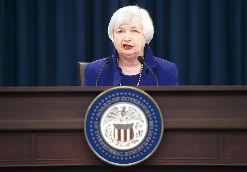 美國聯邦儲備局主席耶倫在新聞發佈會上。(Getty Images)
