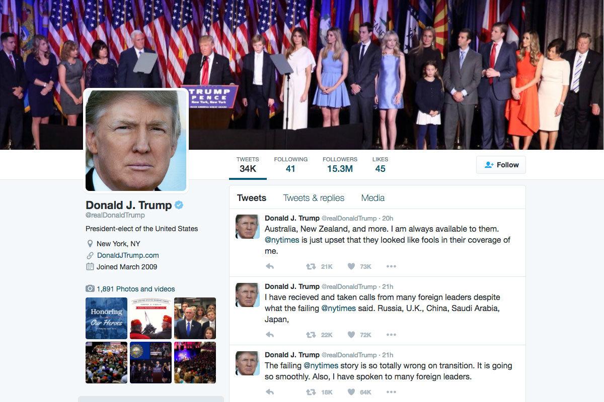 主流媒體連續多日報導政權移交小組運作紊亂、內鬥、人事喬不攏等消息,讓特朗普回到推特(Twitter)連續出擊。(特朗普Twitter擷圖)