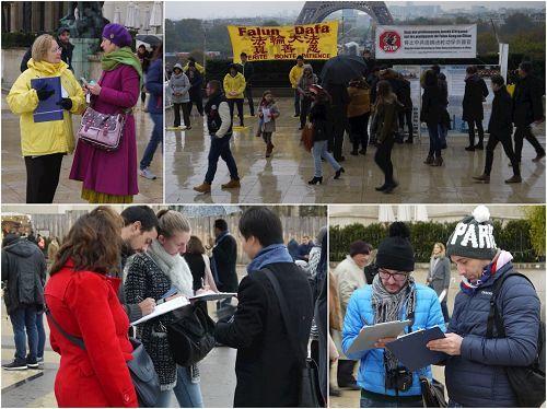 風雨中,法輪功學員把真相告訴人們,很多民眾簽名支持。(明慧網)