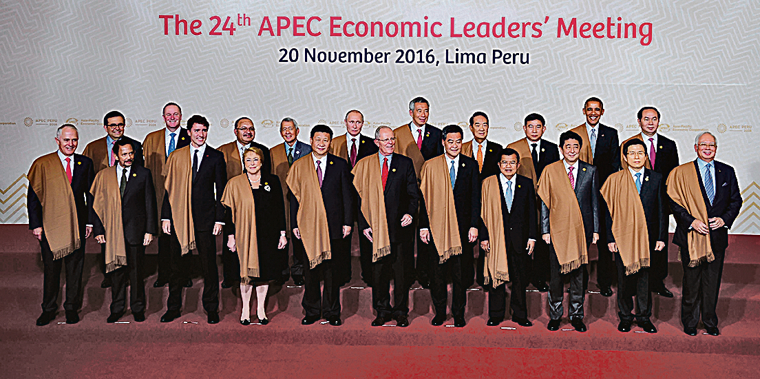 11月20日,亞太經濟合作會議(APEC)首腦會議在利馬舉行。習近平(前左五)與宋楚瑜(後右四)於19日在休息室進行了會談。(Getty Images)