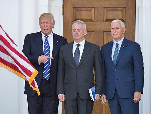特朗普同海軍退役將軍占士‧馬蒂斯上周六在新澤西會面一個多小時。(AFP)