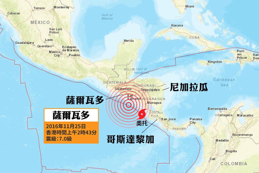 中美洲薩爾瓦多外海7.0級強震 當局發出海嘯警報