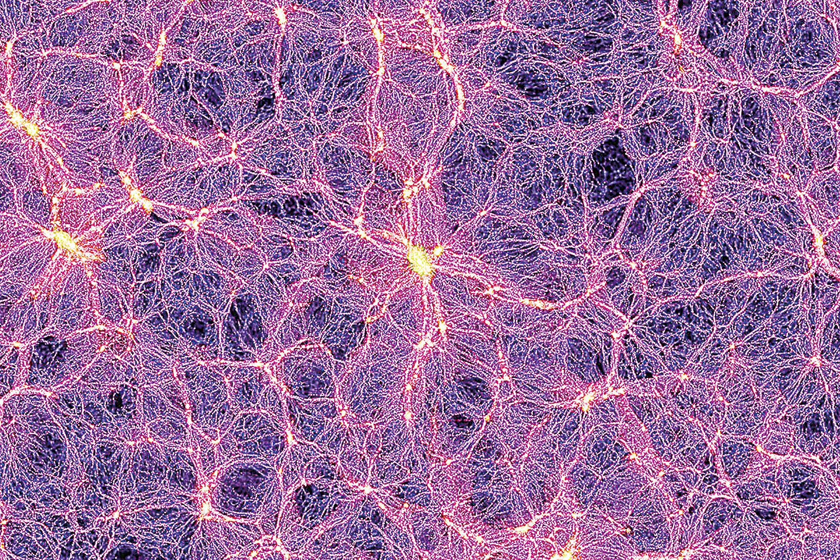 宇宙中星系的分佈如同網格,因此也被稱為宇宙網。那些超星系團組成的網線是其中最粗大的部份,其餘散佈的星系則形成較細的纖維。而纖維之間的空洞幾乎不含星系。(官方圖片)