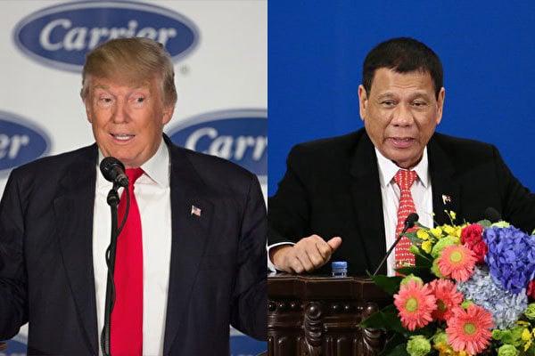 菲律賓總統杜特爾特昨晚與美國總統當選人特朗普第1次通電話,兩人沒有互罵,而是互相邀訪,讓原已瀕臨決裂的菲美關係,出現恢復友好跡象。(Getty Images/大紀元合成圖)
