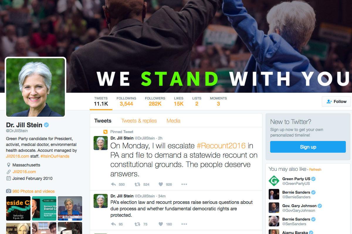 曾代表綠黨角逐總統的斯坦(Jill Stein)今天宣佈放棄申請賓州重新計票。(Twitter擷圖/twitter.com/DrJillStein)