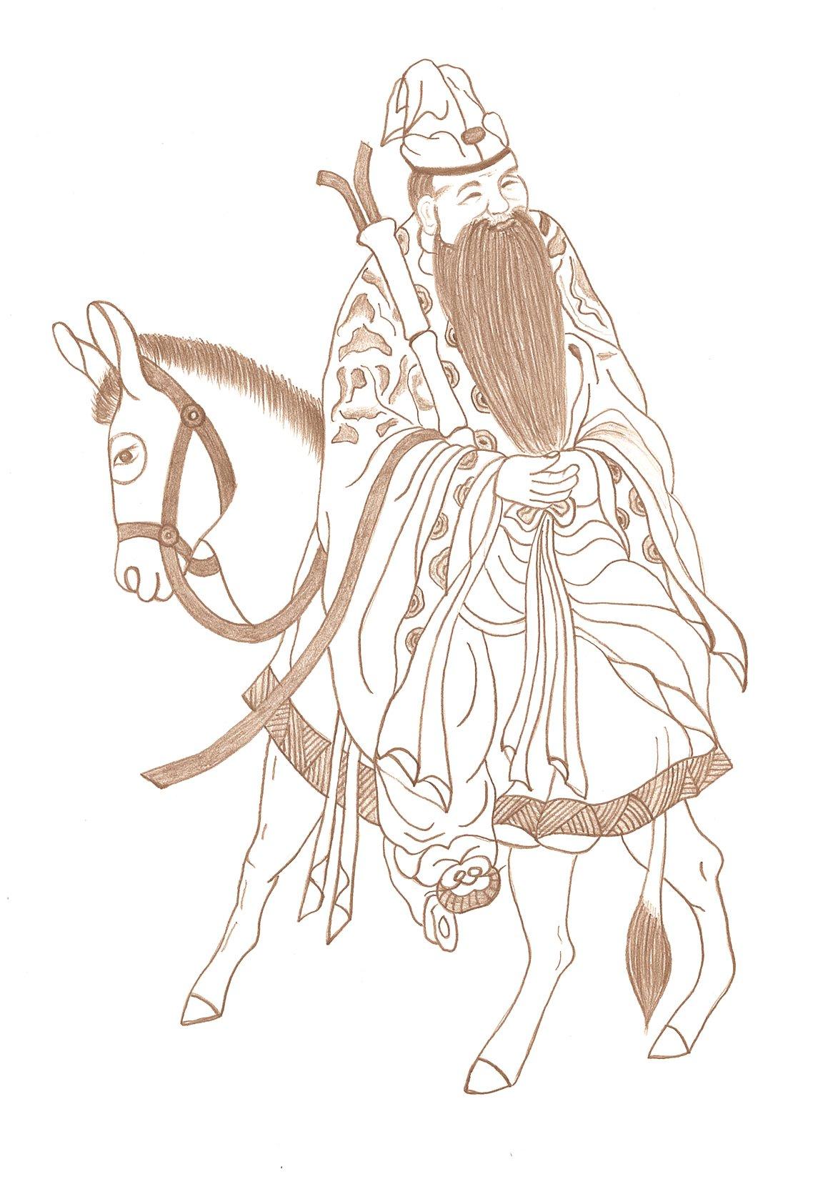 張果老倒騎驢,笑看世間。