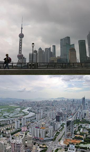 走資潮困擾目前的中國,而上海和深圳被視為資金外流的「口岸」。(大紀元合成圖片)