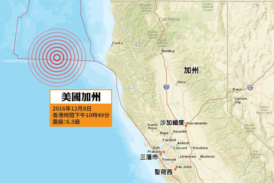 美國地質調查局(USGS)在香港時間昨天(8日)下午10時49分(當地時間8日上午6時49分),錄得一次黎克特制6.5級強烈地震,震央位於美國加州芬代爾(Ferndale, California)西南偏西69公里處,震源深度12.1公里,屬極淺層地震。(地圖:美國地質調查局)