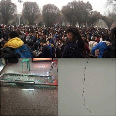 12月8日下午1時15分,新疆昌吉州呼圖壁縣附近發生6.2級地震。市民紛紛到街上避難。(合成圖片)