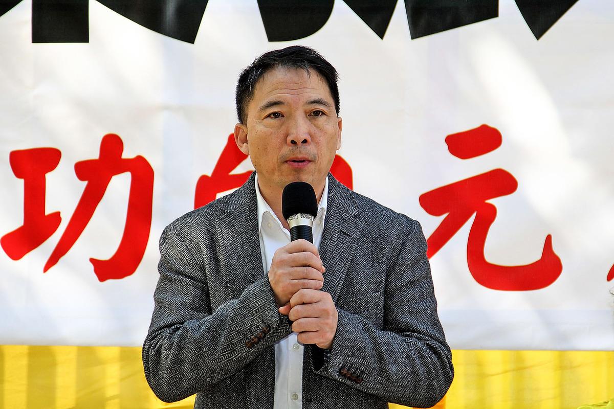 民主黨主席、立法會議員胡志偉呼籲中共領導人要保障人權。(潘在殊/大紀元)