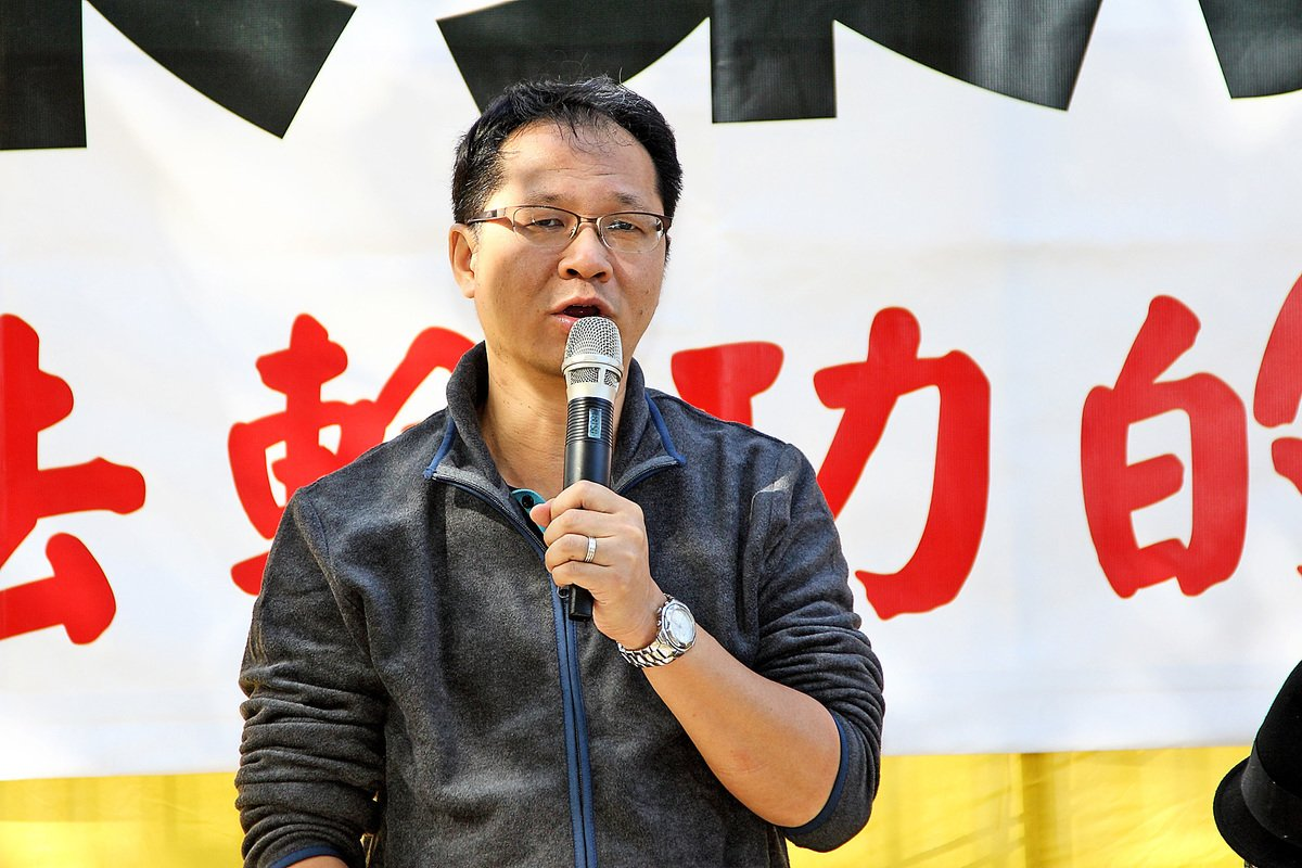 支聯會副主席蔡耀昌表示,對法輪功多年和平理性反迫害感欽佩。(潘在殊/大紀元)