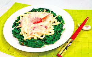 【梁廚美食】蟹肉扒海鮮菇菠菜