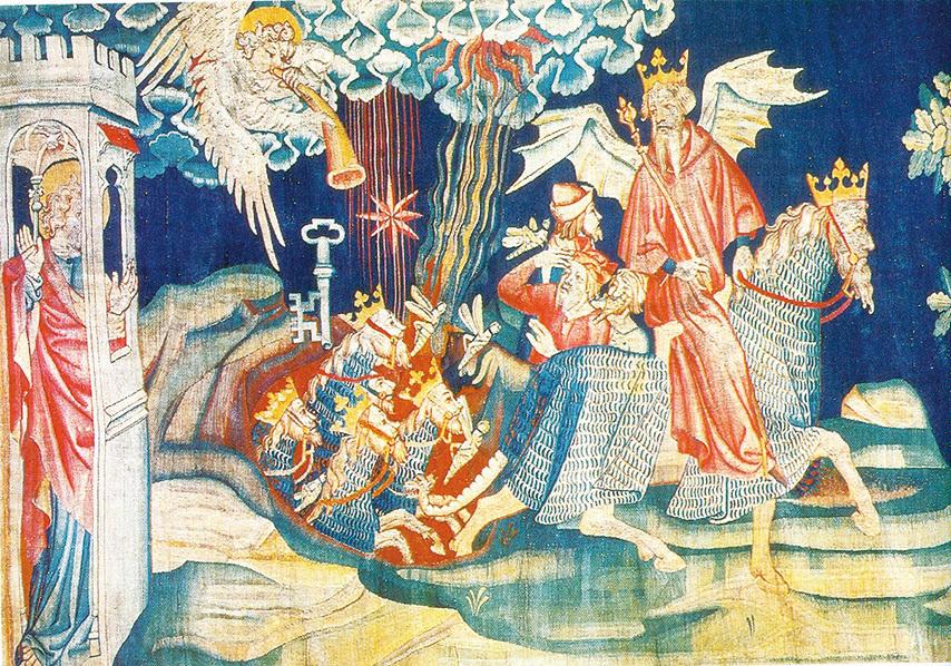 《啟示錄》第二組壁毯中描述:「七天使吹七號」浩劫之第五號,一顆星(代表撒旦)墜落,賜給他鑰匙開啟無底坑,有蝗蟲從坑裡煙中飛出,要傷害額上沒有神印記的人,並有無底坑的使者作害蟲的王。