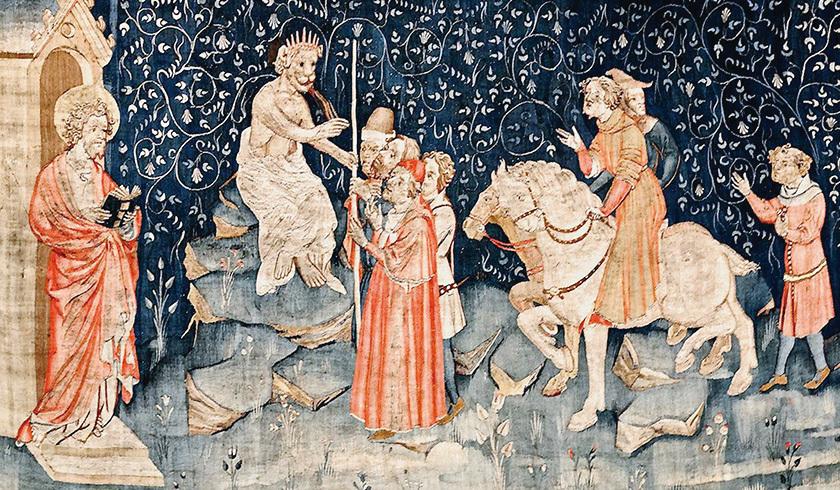 《啟示錄》第四組壁毯中描述:獸又叫眾人,無論大小貧富,自主的為奴的,都在右手上,或在額上,受一個印記。除了那受印記,有了獸名,或有獸名數目的,都不得作買賣。