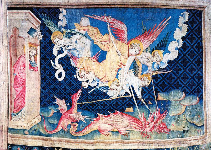 《啟示錄》第三組壁毯中描述:在天上就有了爭戰,天使長同他的使者與紅龍爭戰,紅龍名叫魔鬼,又叫撒旦,是迷惑普天下的。惡龍被敗擊摔在地上,天上再沒有它們的地方。