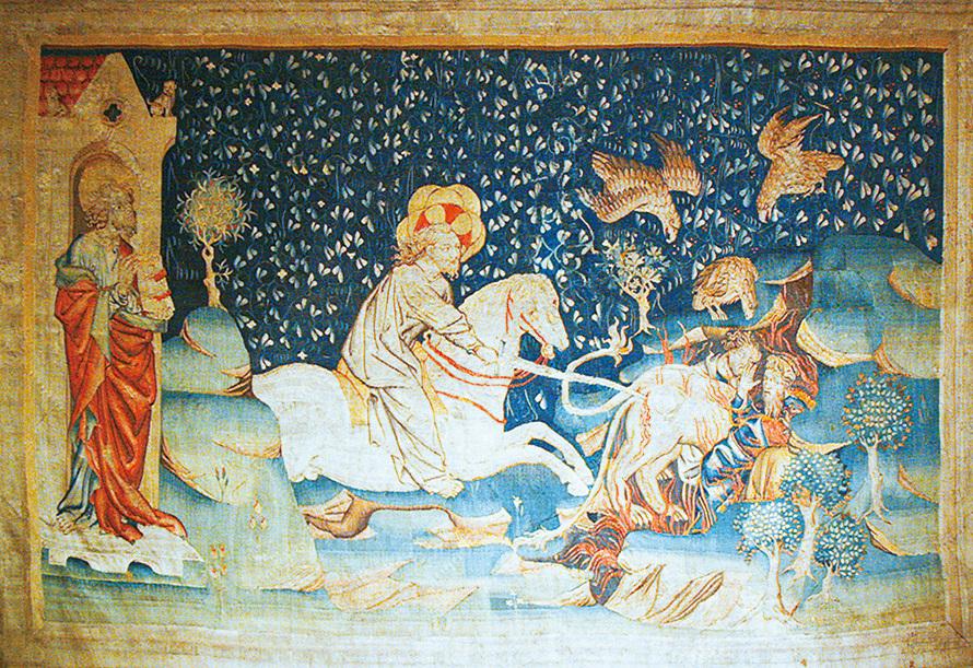 《啟示錄》第五組壁毯中描述:獸和受其迷惑被打上獸印的人被萬王之王擒拿,扔在燒著硫磺的火湖,飛鳥都吃飽了他們的肉。