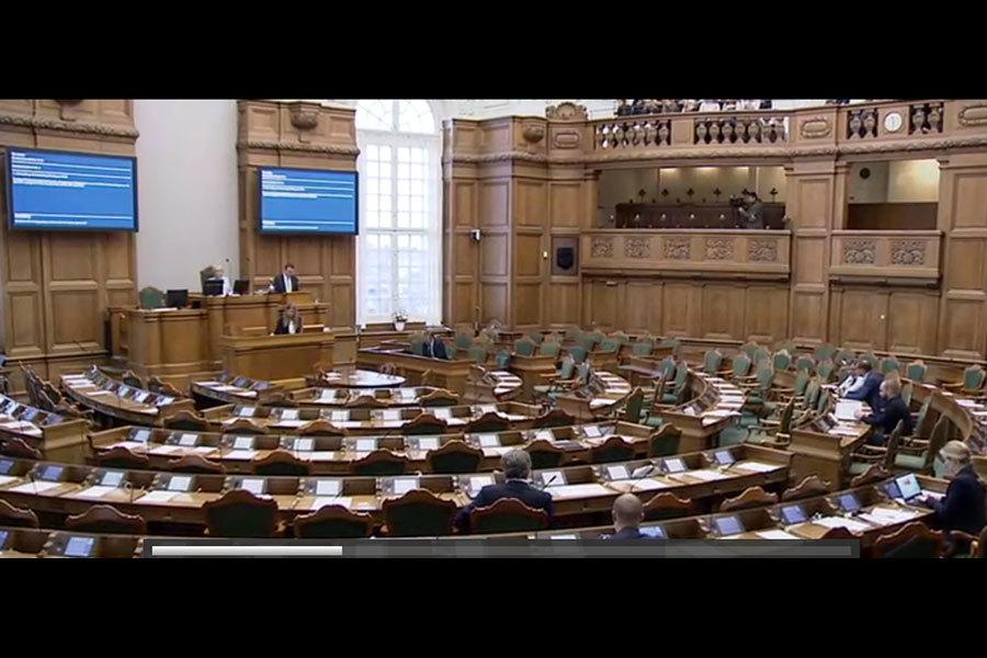 2016年12月8日,丹麥議會舉行了一場以中共活摘器官罪行為議題的答辯會。圖為答辯會現場。(丹麥議會網頁錄像擷圖)