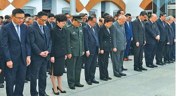 中聯辦主任張曉明缺席13日港府舉辦的南京大屠殺死難者國家公祭日紀念儀式。(政府新聞網)