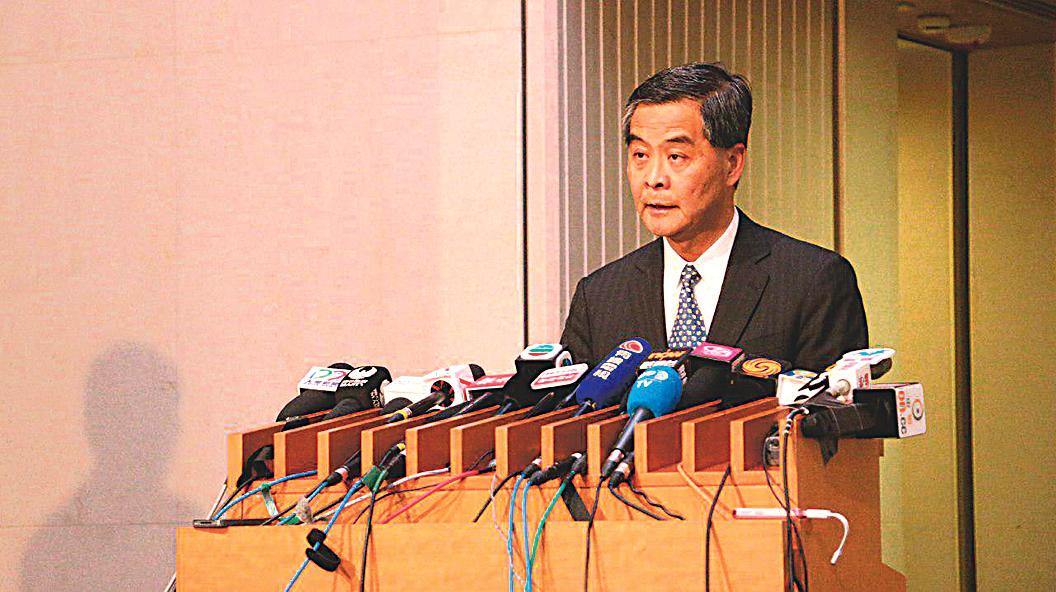 香港特首梁振英12月9日下午突然宣布因家庭原因不競逐下一屆行政長官選舉。(大紀元圖片)