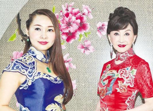 陳昭昭(左)表示自己鍾意穿旗袍,好多時出席活動、演出或做司儀時,也都會穿旗袍。同場的鄭明明(右)覺得旗袍才可以表現到中國女性的美和優雅。(余鋼/大紀元,大紀元合成)