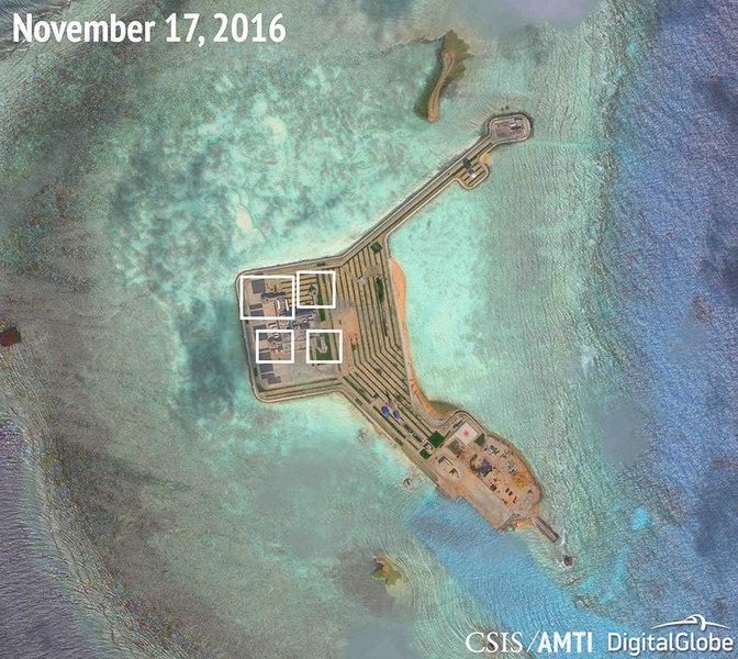 美智庫空照 陸南沙人造島部署武器系統