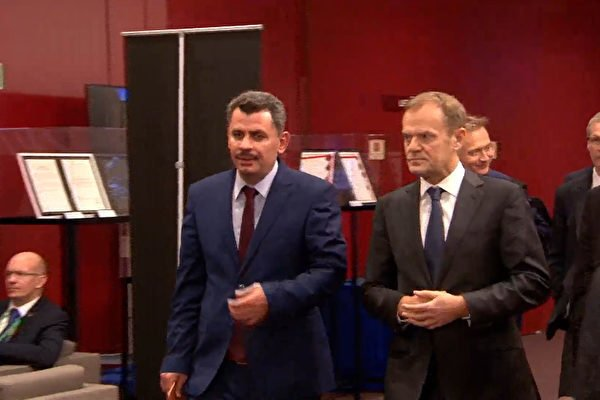 歐盟高峰會議;歐盟輪值主席國斯洛伐克總理,阿勒頗東區市長Brita Hagi Hasan(中),歐盟理事會主席圖斯克(右一)。(歐盟European Union)